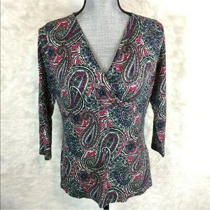 Talbots Paisley Shirt Blouse 3/4 Sleeve Stretch